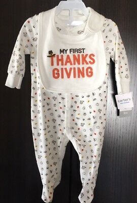7d73d17b3 NEW Carters 2-piece Thanksgiving Sleep & Play Coverall AND Bib Set ~ 3  Months