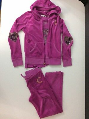 Juicy Couture 3 Piece Velour Tracksuit Set Bottoms Hoodie T Shirt Age 8-10 Years