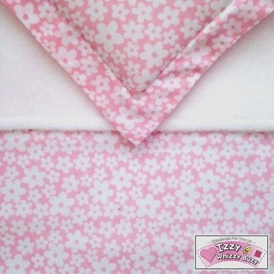 Dolls Pram Cot Blanket & Pillow Bedding Set Pretty Pink Daisy  Baby Annabell