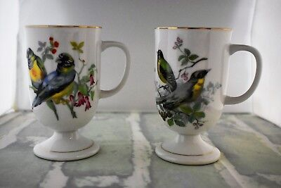 Pair of Vintage Coffee Mugs Cups Birds with Flowers Floral Pattern Gold Trim