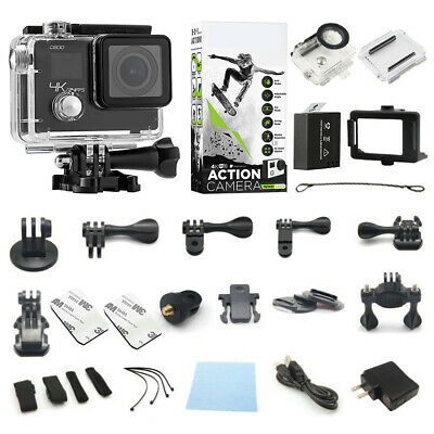 4K Action Camera Dual Screen Ultra HD Camcorder + Remote + Accessory Bundle