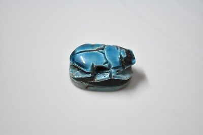 Ancient Egyptian Egypt antique BLUE GLASSY FAIENCE SCARAB A New Kingdom 600 BC