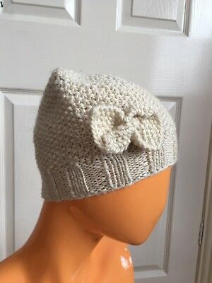 Butterflies Have Feelings For Topshop Cream Beanie Bow Hand knit Wool Hat NWT