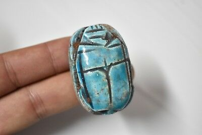 Ancient Egyptian Egypt antique BLUE GLASSY FAIENCE SCARAB D New Kingdom 600 BC