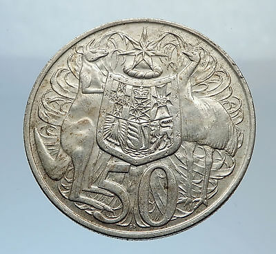 1966 AUSTRALIA - UK Queen Elizabeth II SILVER 50 cents Coat-of-Arms Coin i71632