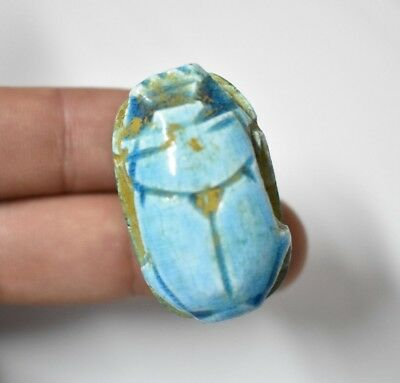Ancient Egyptian Egypt antique BLUE GLASSY FAIENCE SCARAB G New Kingdom 600 BC