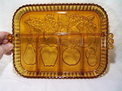 Amber glass fruit tray 5 section Indiana Glass Vintage Thick quality glass