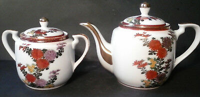 Kutani Teapot and Matching Covered Sugar Bowl - Floral with Gold Trim