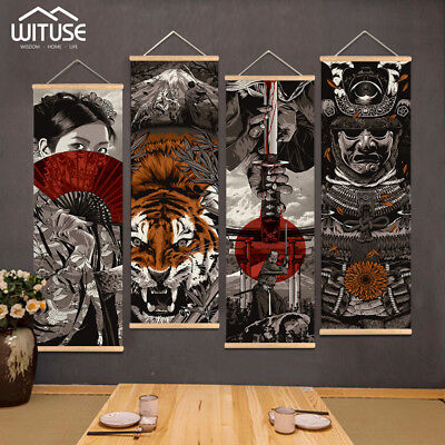 Japanese Samurai Wall Art Picture Hanging Scroll Painting With