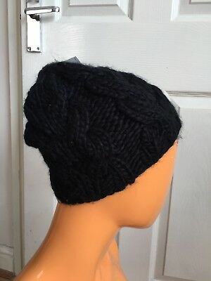 Topshop Black Cable Knit Beanie Winter Women's Hat RRP£10.00 NWT