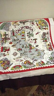 Vintage California State Souvenir Tablecloth Cotton Fabric Map used