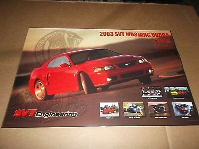 """2003 SVT Ford Mustang Cobra Poster~30"""" x 20""""~Issued By Ford Motor Company~New~03"""