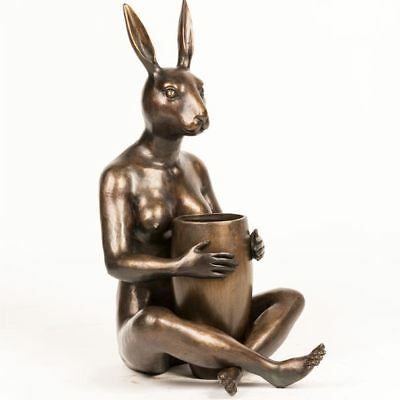 GILLIE AND MARC. Direct from artists. Authentic bronze sculpture Rabbit Art Vase