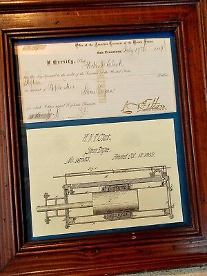 1869 U.S. Patent Model Receipt for Steam Engine Filing ~ San Francisco