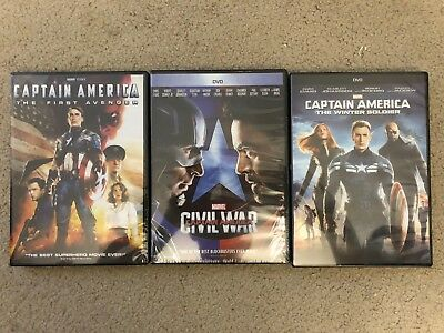 Captain America Trilogy DVD Movies The First Avenger Winter Soldier Civil War
