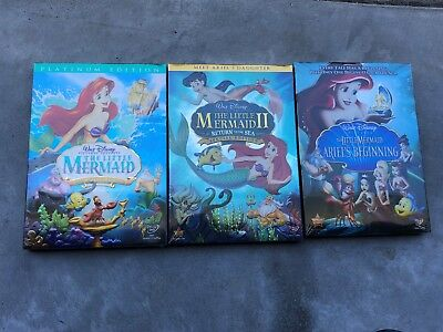 The Little Mermaid Trilogy 1 2 and Ariel's Beginning DVD Movie Free Shipping!