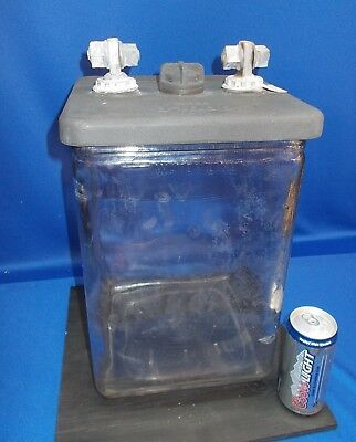 Really Big 3 1/2 Gallon GOULD Battery Jar w/Lid & Terminals