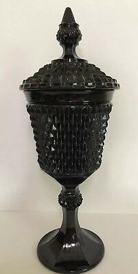 "Antique Black Glass 16"" Chalice Goblet Apothecary Jar Candy Dish Urn"