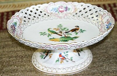 Antique Meissen Enamel Painted Porcelain Reticulated Oval Compote Serving Bowel