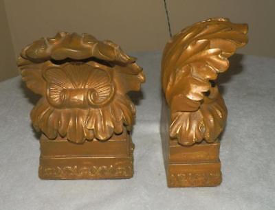 Pair of Vintage Bookends Gold Gilded Gothic Regency Scroll Leaf Roman Heavy