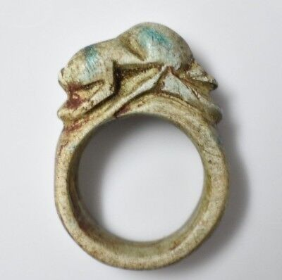 Rare Ancient Egyptian Egypt antique STONE RING frog Heqet B 600 BC