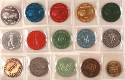 Collection of 15 1968, '69 and 1973 LSU TIGERS TULANE Mardi Gras Doubloon Coins