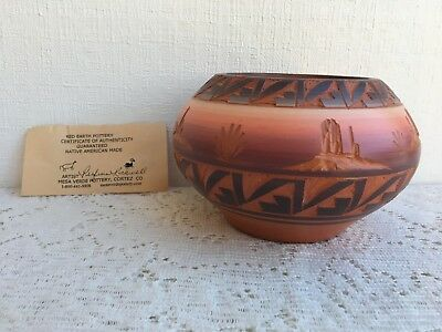 North American Made Red Earth Pottery Bowl Mesa, Verde with COA (294)