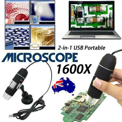 AU! Portable 1600X 2-in-1 USB Microscope Digital Electronic Detection Magnifier