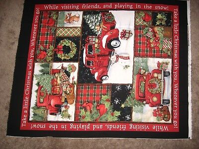 SUSAN WINGET RED Truck Collage Christmas Fabric Panel