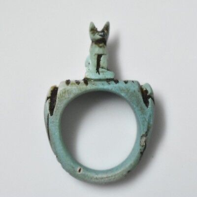 Rare Ancient Egyptian Egypt antique STONE RING  BASTET P 600 BC