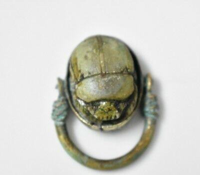 Ancient Egyptian Egypt antique Copper RING with Scarab  b 600 BC