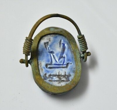 Ancient Egyptian Egypt antique Copper RING with Scarab  c 600 BC