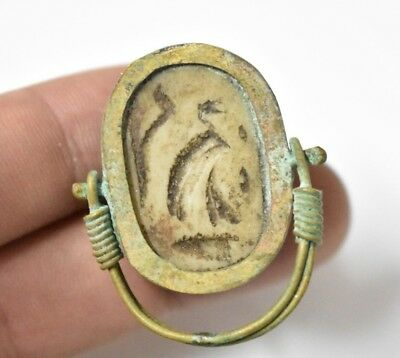 Ancient Egyptian Egypt antique Copper RING with Scarab  g 600 BC