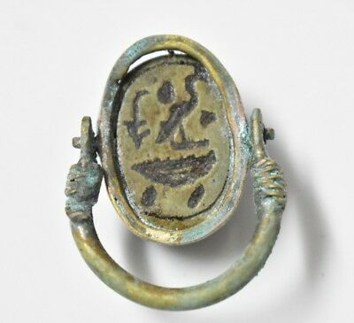 Ancient Egyptian Egypt antique Copper RING with Scarab  i 600 BC