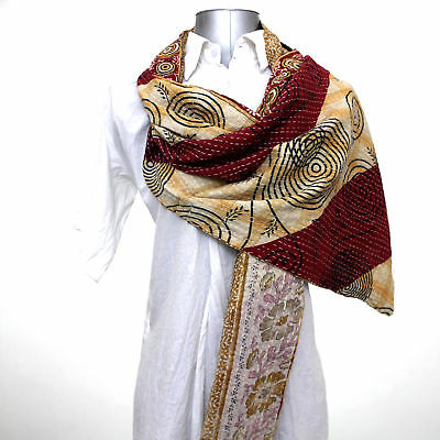Vintage Indian Handmade Reversible Kantha Cotton Scarf Stole Dupatta Neck Wrap