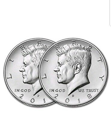 2018 P&d Kennedy Half Dollar Set  Clad Two Coins Unc From  Us Mint Roll