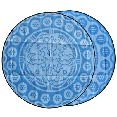 RECYCLED Plastic Outdoor Rug   ABORIGINAL Turtle Mat   2.7m Round, Blues