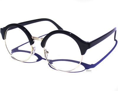 c7f87174a5 Round Black   Gold Clear Lens Glasses Retro Half Frame Brow Vintage Style