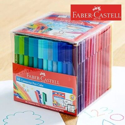 Faber Castell 48 Colouring Textas Colors Connector Pens Art Drawing School Work