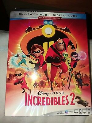 DISNEY PIXAR INCREDIBLES 2 BLU RAY DVD 3 DISC SET + SLIPCOVER SLEEVE, like new