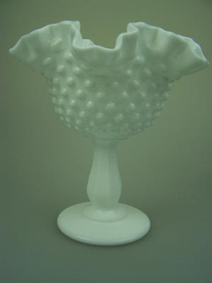 Vintage Fenton hobnail milk glass comport compote pedestalled ruffled bowl