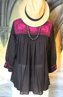Mexican Blouse Maroon on Black Square Neck Hand Embroidered Cotton Peasant Boho