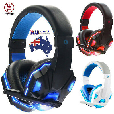 Gaming Headset Stereo Headphone 3.5mm Wired + Mic For PS4 PS3 Laptop PC AU Stock