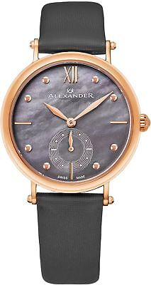 Alexander Monarch Roxana Gray Mother of Pearl Large Face Stainless Steel Plated