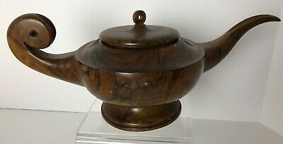 Old Solid Antique Vintage Polished BURL WOOD Aladdin Lamp Teapot w/ Lid