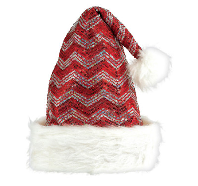 693f5599d6592 SEQUIN SANTA HAT Faux Fur Trimmed Christmas Holiday Costume Red ...