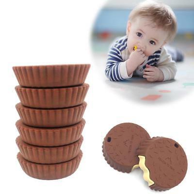 Baby Toddler Teether Food Grade 3D Cookie Choc Silicone Training Teething Toy