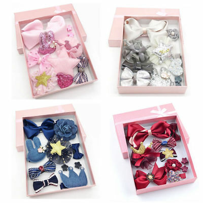 10PCS Kids Baby Girl Bow Hair Clips Flower Barrette Pins Gift Alligator Clip