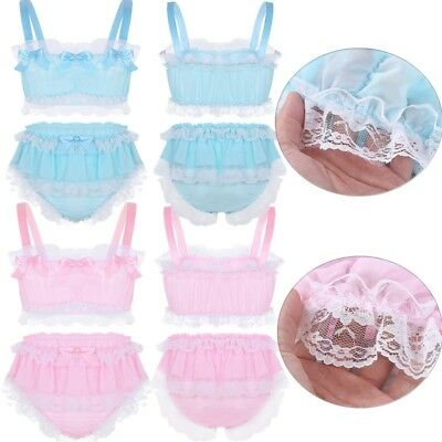 2Pcs Men Silky Satin Crop Tops Sissy Skirted Panties Briefs Gay Underwear Bikini
