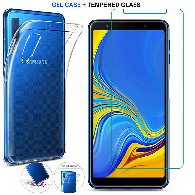 For Samsung Galaxy A7 2018 A750 Case Clear Slim Gel Cover+Glass Screen Protector
